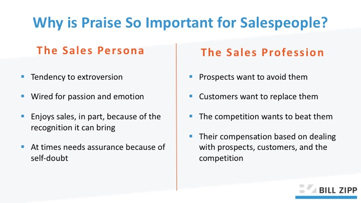 salespeople positive praise